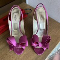 Valentino Pumps Fuchsia Pink Satin Bow Heels EUR 36,5 US 6