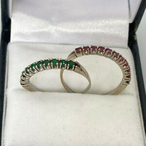Set Of 2 18ct White Gold Emerald & Ruby Eternity Rings.  Goldmine Jewellers.