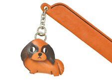 Japanese chin Leather dog Charm Bookmarker *VANCA* Made in Japan #61737