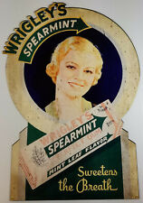 WRIGLEY'S SPEARMINT CHEWING GUM SWEETENS THE BREATH HEAVY DUTY METAL ADV SIGN