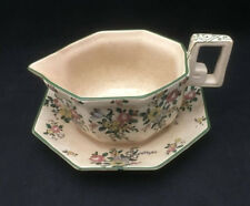 Royal Doulton Old Leeds Spray Sauce Boat with Underplate - English China