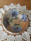Vintage Stoneware Studio Pottery Bowl Salt Glaze Purple Flowers Signed Chop Mark