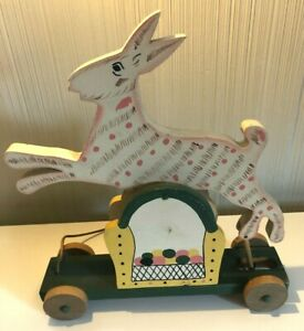 Dudley and Emilie Fuller Folk Art Pull Toy Rabbit -- Signed -- 1990