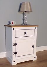 Corona White Pot Cupboard 1 Door 1 Drawer Bedside by Mercers Furniture