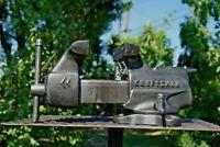 VINTAGE CRAFTSMAN 3-1/2 JAW BENCH VISE W/ SWIVEL BASE & PIPE GRIPS MADE IN USA