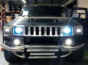 2003 2009 Hummer H2 LED Bumper Fog Lights Halo Pair Front Daytime Running Lamp