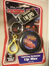 DISNEY CARS Lightning McQueen Key Chain Back Pack holder Lip Balm KIDS gift NEW