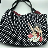 Betty Boop clutch bag travel purse case kisses black white polka dot pudgy FAB