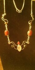 Carnelian, moonstone, sunstone sterling silver neckpiece.