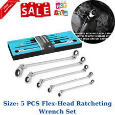 Duratech Extra Long Flex Head Double Box End Ratcheting Wrench Set Sae 5 Pcs