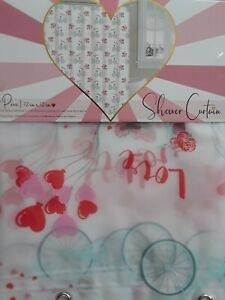 "Shower Curtain Peva Vinyl Valentine's Day Love 72"" x 72""  Mildew Resistant New"