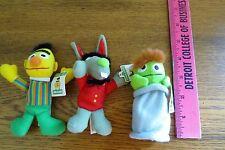 Lot of 3 Sesame Street Plush Toys, Bert, Oscar, & Benny Rabbit  1999 for Kellogg