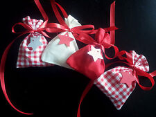 Adventskalender KARIERT 24 Stoffsäckchen rot weiß Schleifen Sterne Landhausstil