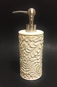 CERAMIC IVORY,TAN,BEIGE 3D FLORAL PATTERN SOAP,LOTION DISPENSER,SILVER TONE PUMP
