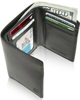 Vegan Leather Trifold Wallets For Men Cruelty Free Non Leather RFID Mens Wallet