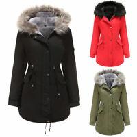 Womens Fur Lined Winter Parka Jacket Coat Ladies Hooded Warm Overcoat Outwear UK