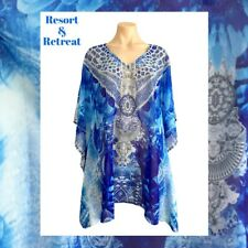 Crystal Embellished Kaftan Size 12-20, Resort Wear, Tribal Print, Blue