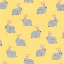 Yellow Bunny Print Cotton Flannel Quilting Fabric Woodland Hideaway Kaufman BTY