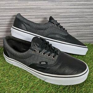 Vans Old Skool Era Heringbone Skate Shoes Black Leather Canvas UK Size 7.5 EU 41
