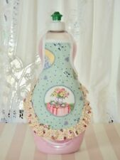Garden Tea Time Pink Rose Buds Ruffle Kitchen Decor Dish Soap Bottle Apron