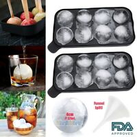 2 X Whiskey Ice Cube Ball Maker 8 Sphere Mould Party Tray Round Bar Silicone BLK