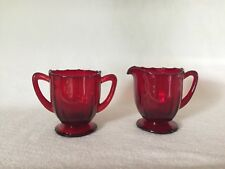 RUBY RED New Martinsville #34 ADDIE CREAMER & SUGAR Free U.S. Shipping