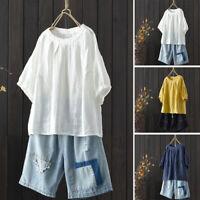 Women 3/4 Sleeve Casual Plain Shirt Tops Round Neck Oversize Ethnic Blouse Plus