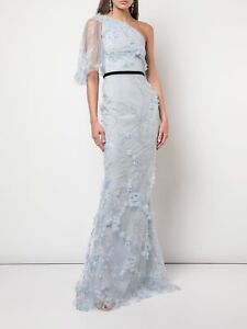 Marchesa Notte One-Shoulder Flutter Sleeve Mermaid Gown