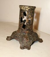 rare antique industrial ornate cast iron cross flag stand holder footed base