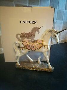 Pure Elegance Unicorn Fantasy Decor Art Freestanding Statue Figurine resin