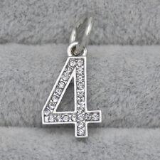 Silver CZ Crystal Number Four 4 Pendant Charm Bead Suit Bracelet Necklace DIY