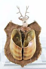 ANTIQUE COW HOOF ART WALL HANGING MATCH HOLDER LEAD STAG PLAQUE