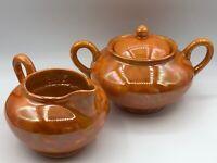 Vintage Shofu Made in Japan Lusterware Orange Flame Creamer Sugar Bowl and Lid