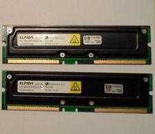 ELPIDA MC-4R256FKE8D-840 512MB RDRAM RAMBUS PC800-40 RIMM ECC 2 256MB Modules