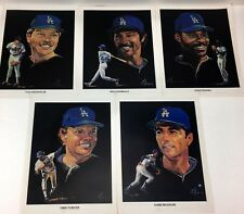 Vtg lot 5 Los Angeles LA Dodgers Portraits Union 76 Oil Prints by Volpe 1982