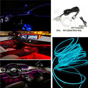 Multi Modes Car Interior 6 IN 1 RGB LED Atmosphere Light Strip Phone APP Control