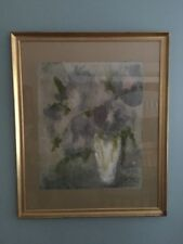Francis Fischler Still Life -Vase with Flowers - Watercolor on Rice Paper RARE