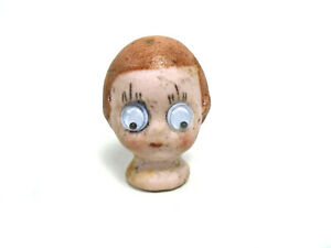 """Antique bisque doll head for a comic boy, 1.27"""", to tie in, doll repair part"""