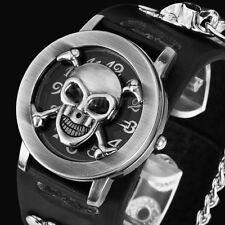 Punk Gothic Chain Skull Leather Band Women Men Bracelet Cuff Bangle Wrist Watch