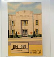 First Federal Savings and Loan Association New Castle vintage Linen Postcard