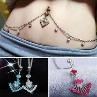 Body Piercing Jewelry Rhinestone Navel Ring Belly Button Bar Waist Chain Dangle