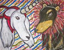 Saluki Lion and Unicorn Dog Art Print 8 x 10 Vintage Style Wonderland by KSams