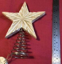 More details for eco wooden star tree topper bnwt rustic garden barn star new natural tree wood