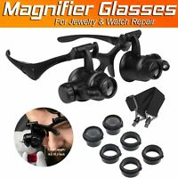 Double Eye Magnifier Loupe Glasses 8 Lens With LED Light To Repair Watch Jewelry