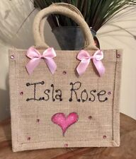 Personalised Glitter Jute Bag Gift Birthday Easter Christmas Lunch Bag
