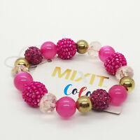 Mixit Color Bracelet Beaded Stretch Hot Pink Silver Tone Fashion Jewelry NEW