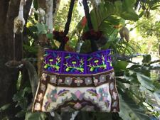 NEW TRIANGLE HMONG COTTON FLORAL EMBROIDERED TOTE SHOULDER BAG BOHO PURPLE BROWN