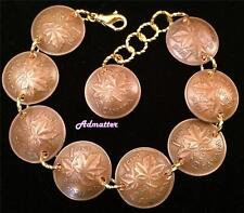 1982 35 BIRTHDAY CANADIAN PENNY CHARM BRACELET GOLD PL ACCENTS ANNIVERSARY GIFT