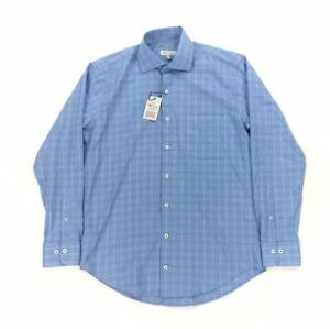 NEW Peter Millar Crown Light Stretch Mens Long Sleeve Button Shirt Oasis Blue