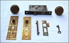R H Co Ornate Brass Door Knob Set w/ Lock Double Skeleton Key Works Restoration